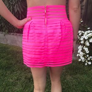 San Joy Skirts - NWT San Joy Hot Pink Overlay Stretch Miniskirt